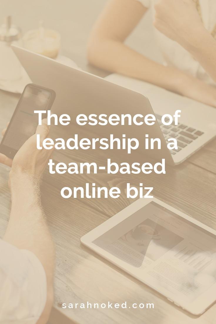 The essence of leadership in a team-based online biz